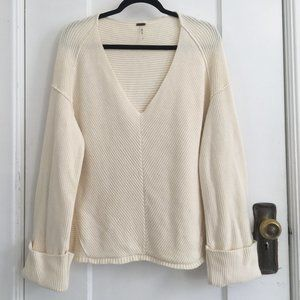 Free People 100% Cotton V-Neck Sweater Small